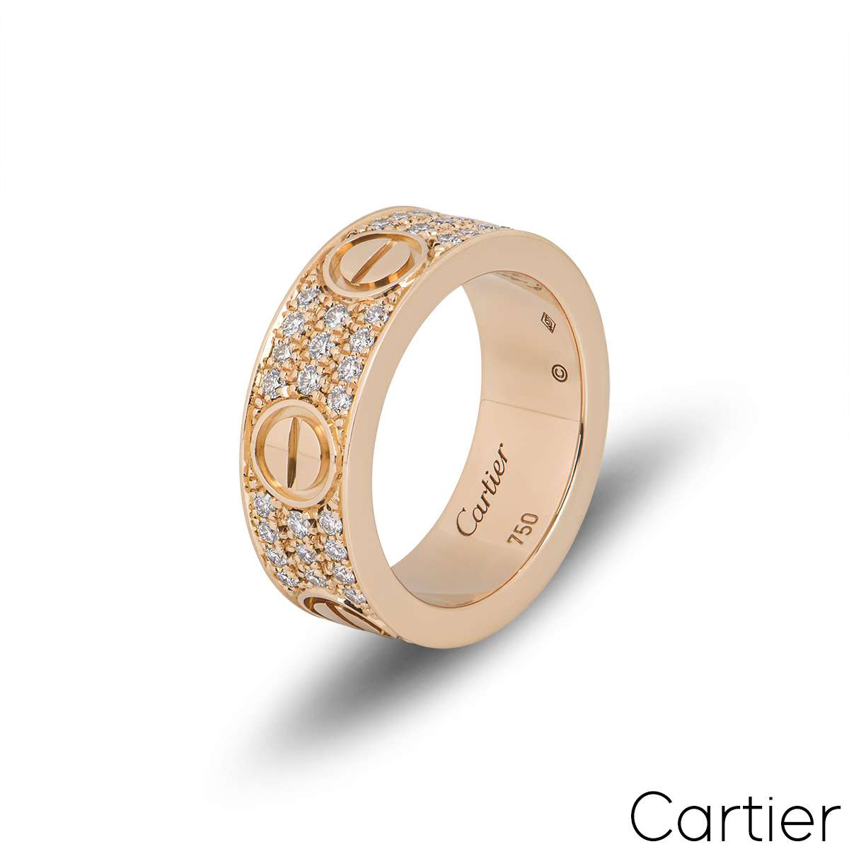 Cartier Rose Gold Pave Diamond Love Ring Size 49 B4087600